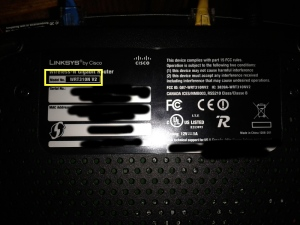 Router Underside - Model Number Highlighted