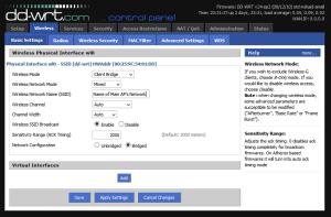 Set wireless settings to match main AP