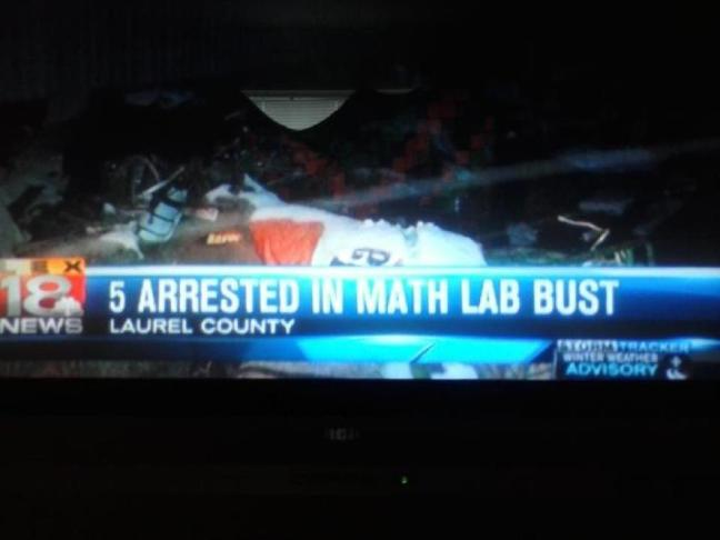 Breaking news: 5 arrested in math lab bust